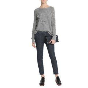 Autumn Cashmere Fringe Sweater Grey Size Small